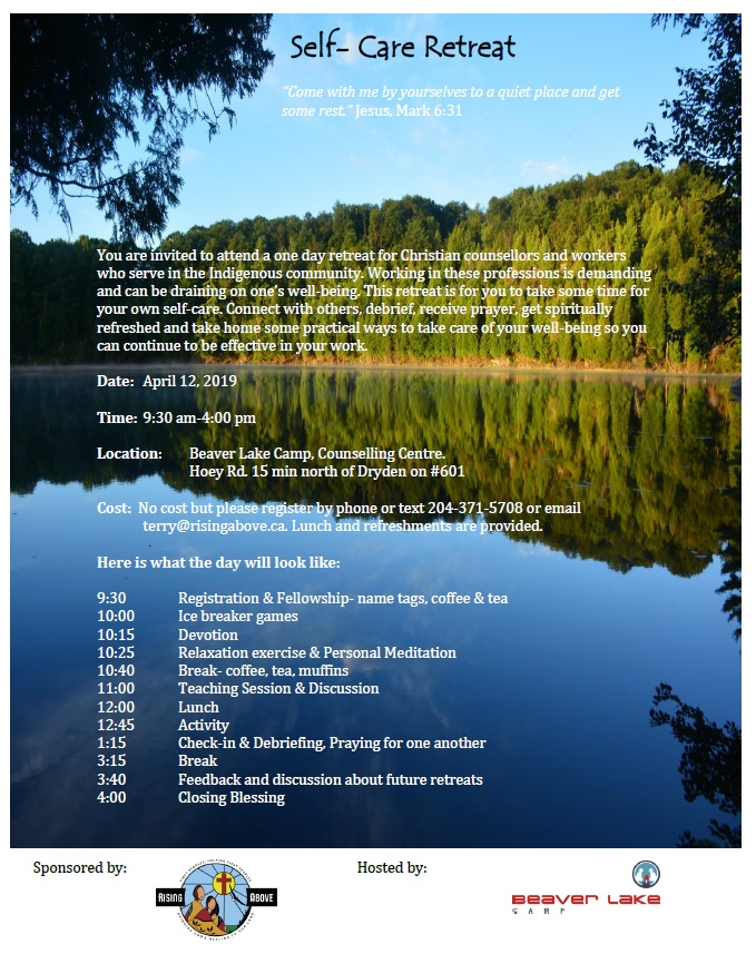 Self Care Retreat April 12 Dryden, ON   Rising Above